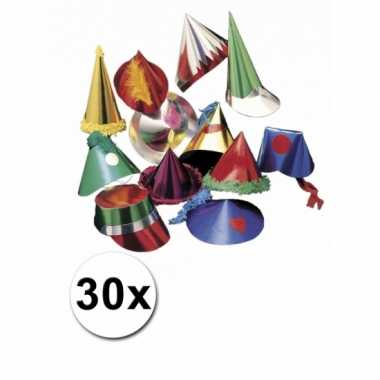 Gekleurde feesthoedjes 30 stuks- feestje!