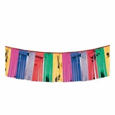 Gekleurde franje feest slingers 400 cm x 30 cm- feestje!