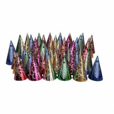 Gekleurde punthoedjes glitter feest 50 stuks- feestje!