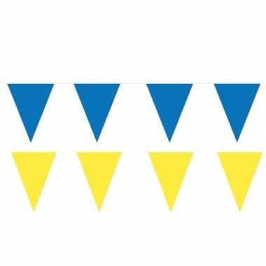 Gele/blauwe feest punt vlaggetjes pakket 120 meter- feestje!