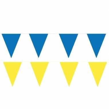 Gele/blauwe feest punt vlaggetjes pakket 200 meter- feestje!
