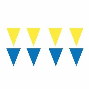 Gele/blauwe feest punt vlaggetjes pakket 60 meter- feestje!