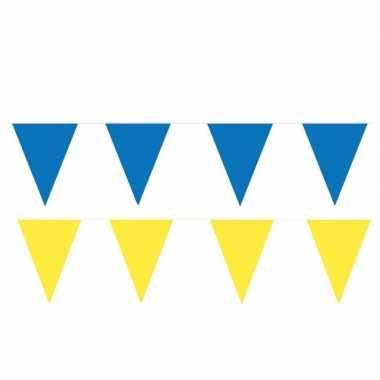Gele/blauwe feest punt vlaggetjes pakket 80 meter- feestje!