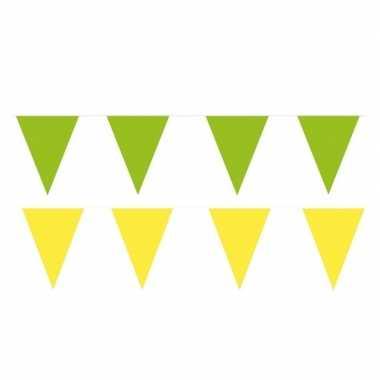 Gele/groene feest punt vlaggetjes pakket 120 meter- feestje!