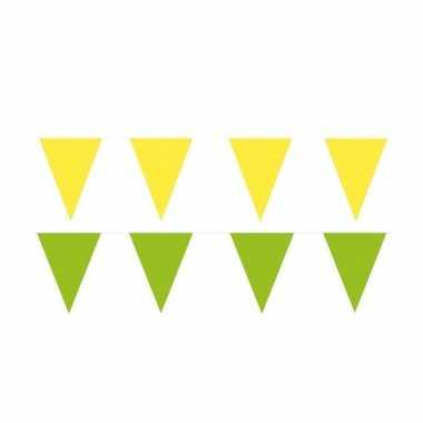 Gele/groene feest punt vlaggetjes pakket 60 meter- feestje!