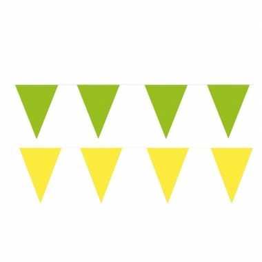 Gele/groene feest punt vlaggetjes pakket 80 meter- feestje!