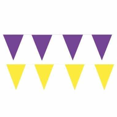 Gele/paarse feest punt vlaggetjes pakket 120 meter- feestje!