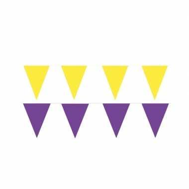 Gele/paarse feest punt vlaggetjes pakket 60 meter- feestje!