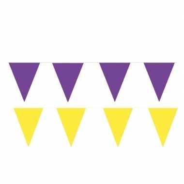 Gele/paarse feest punt vlaggetjes pakket 80 meter- feestje!