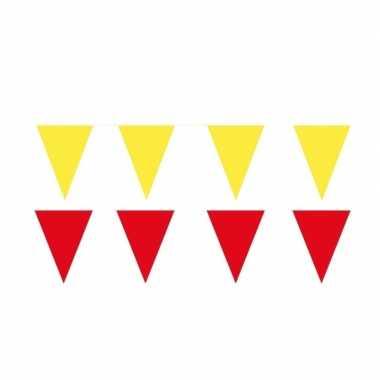 Gele/rode feest punt vlaggetjes pakket 60 meter- feestje!
