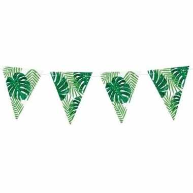 Groene diy jungle/hawaii thema feest vlaggenlijn 1,5 meter- feestje!