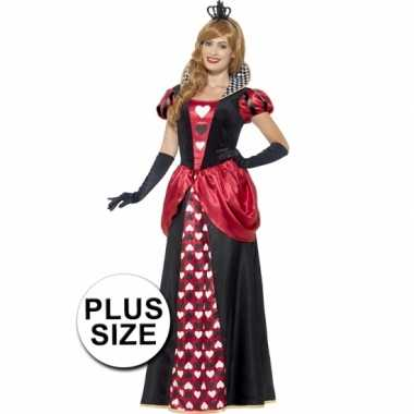 Grote maat feest hartenkoningin verkleedoutfit voor dames- feestje!