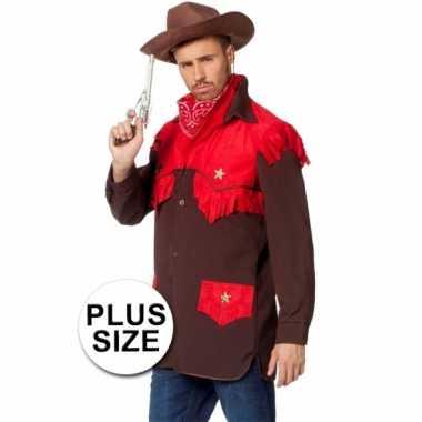 Grote maten feest cowboy kleding shirt voor heren- feestje!