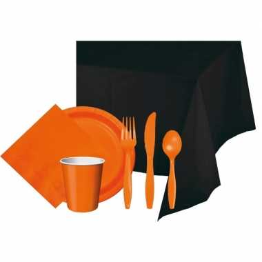 Halloween feestpakket zwart oranje 8 persoons feestje