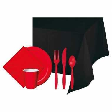 Halloween feestpakket zwart/rood 8 persoons- feestje!