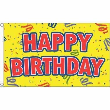 Happy birthday verjaardag feest vlag 90 x 150 cm - feestje!