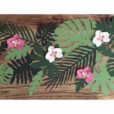 Hawaii thema feest decoratie orchidee bladeren 6x stuks- feestje!
