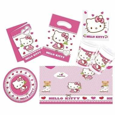 Hello kitty thema kinderfeestje versiering pakket 7-12 personenfeestj