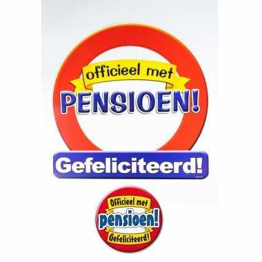 Huldebord pensioen! gefeliciteerd verkeersbord met xxl button feestdecoratie- feestje!