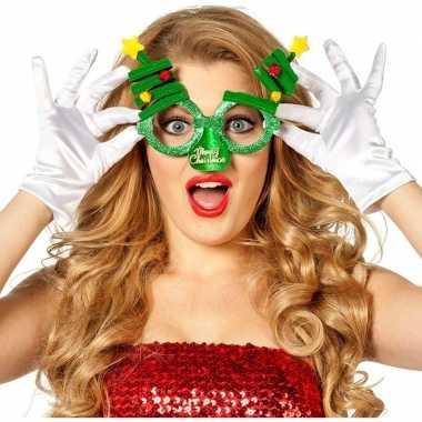 Kerst feest/verkleed bril groen met kerstbomen voor volwassenen- fees