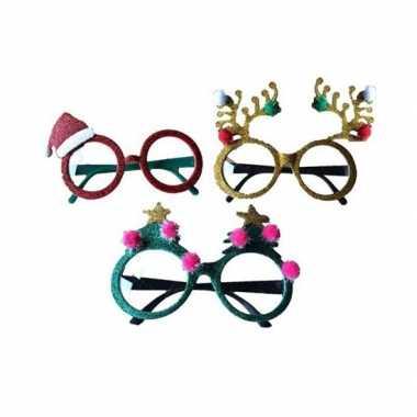 Kerstaccessoires brillen/feestbrillen groen met sterren- feestje!
