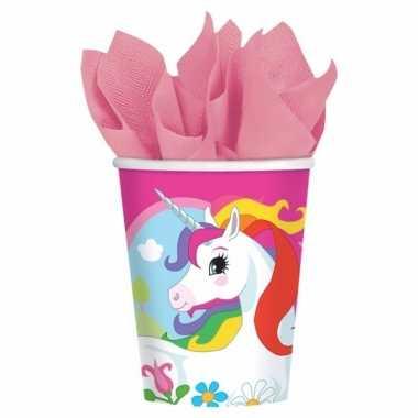 Kindefeest wegwerp unicorn bekers set van 8- feestje!