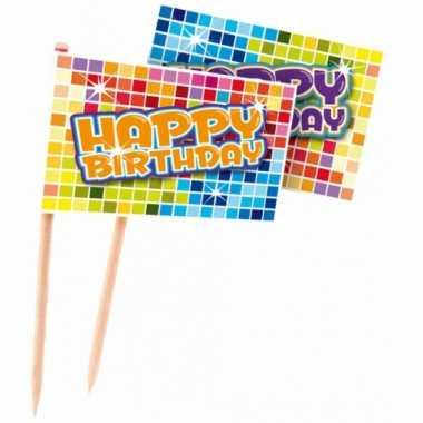 Kinderfeest prikkers happy birthday 24 stuks- feestje!