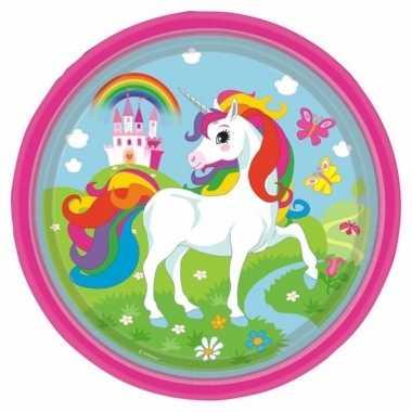 Kinderfeest unicorn wegwerp bordjes 8 stuks- feestje!
