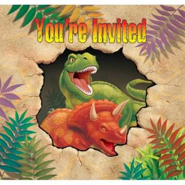 Kinderfeestje dinosaurus uitnodigingen 8 stuks- feestje!