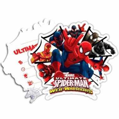 Kinderfeestje spiderman warriors uitnodigingen- feestje!