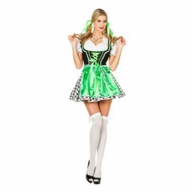 Kort oktoberfeest jurkje voor dames in het groen feestje