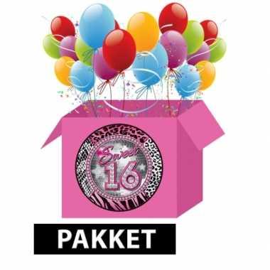 Leeftijdsartikelen 16e verjaardag feestpakket- feestje!
