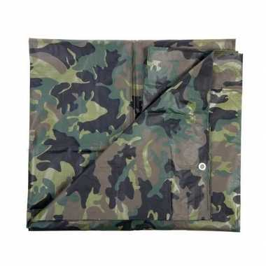 Leger thema feest camouflage afdekzeil groen 5 x 6 meter- feestje!