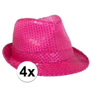 Neon roze feesthoed met glimmers 4 stuks- feestje!