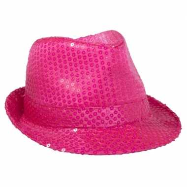 Neon roze feesthoed met glimmers- feestje!