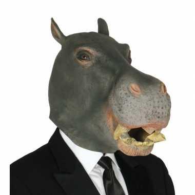 Nijlpaard dieren feestmasker- feestje!