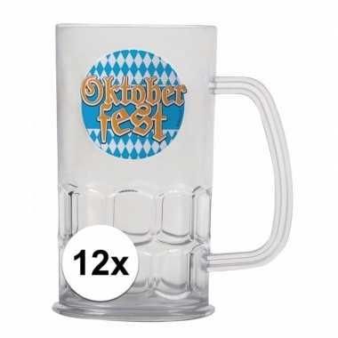 Oktoberfest - 12x bierfeest bierpullen kunststof van 500 mlfeestje!
