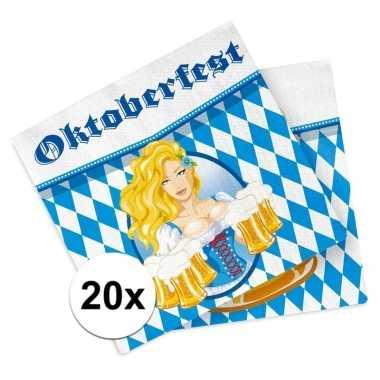 Oktoberfest - 20x oktoberfest themafeest servetten blauw 33 x 33 cm p