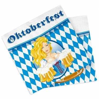 Oktoberfest - 40x oktoberfest themafeest servetten blauw 33 x 33 cm p