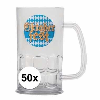 Oktoberfest - 50x bierfeest bierpullen kunststof van 500 mlfeestje!