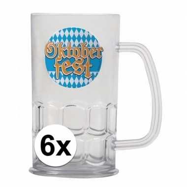 Oktoberfest - 6x bierfeest bierpullen kunststof van 500 mlfeestje!