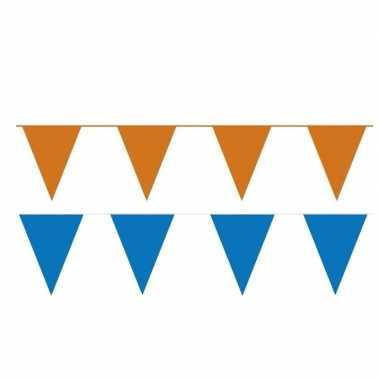 Oranje/blauwe feest punt vlaggetjes pakket 60 meter- feestje!