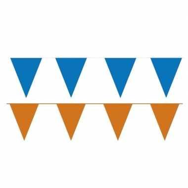 Oranje/blauwe feest punt vlaggetjes pakket 80 meter- feestje!