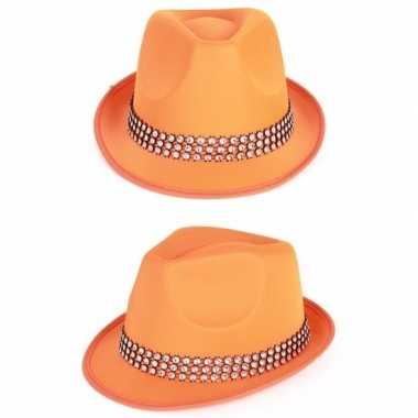 Oranje feest hoeden met zilveren steentjes feestje