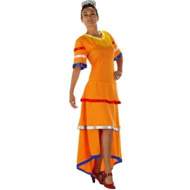 Oranje feestjurk voor dames feestje