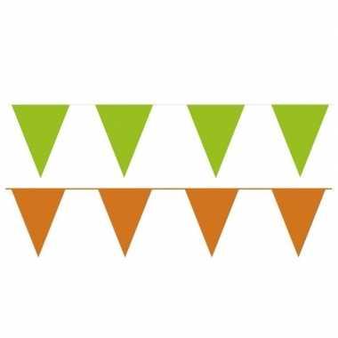 Oranje/groene feest punt vlaggetjes pakket 120 meter- feestje!