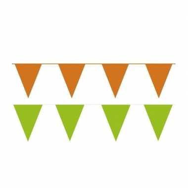 Oranje/groene feest punt vlaggetjes pakket 60 meter- feestje!