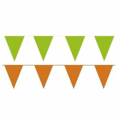 Oranje/groene feest punt vlaggetjes pakket 80 meter- feestje!
