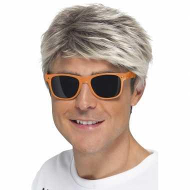 Oranje neon feestbril voor volwassenen- feestje!