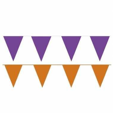 Oranje/paarse feest punt vlaggetjes pakket 120 meter- feestje!